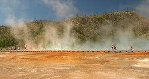 Yellowstone National Park path. Pathway by steam pools and  tourists in Yellowstone National Park Stock Photo
