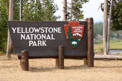 Yellowstone National Park Sign royalty free stock photo