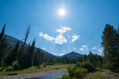Yellowstone National Park sun burst. Sun shining over the landscape of Yellowstone National Park Royalty Free Stock Images