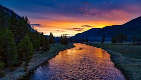 Yellowstone National Park, Sunset Stock Photography