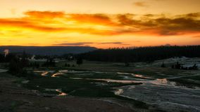 Yellowstone national park at sunset. Yellowstone national park landscape with twilight sky at sunset, Wyoming, USA stock photography