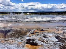 Yellowstone National Park thermal features of geysers stock photo