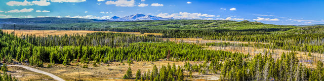 Yellowstone National Park is very large. This panorama, take from a hill just above the Artists Paintpots and looking north, covers just a very small portion of Stock Image