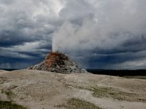 Yellowstone National Park, white Dome Geyser. Eruption steam and water on firehole lake drive royalty free stock image
