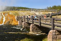 YELLOWSTONE NATIONAL PARK, WYOMING, USA - AUGUST 23, 2017:   Tourists walking on the path to the Grand Prismatic Geyser Basin Stock Photos