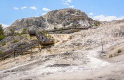 YELLOWSTONE NATIONAL PARK, WYOMING, USA - JULY 17, 2017: Tourists on boardwalk at Mammoth Hot Springs Terraces. Yellowstone Park, Royalty Free Stock Photo