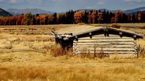 Yellowstone Old West Log Cabin Stock Photos