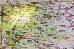 Yellowstone Park map spotlight Royalty Free Stock Photos