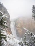 Yellowstone più basso cade con neve di caduta Fotografie Stock
