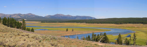 Yellowstone River. The Yellowstone Rivers snakes through a wide flat valley in Yellowstone National Park, Wyoming Royalty Free Stock Photos