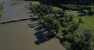 Yellowstone river aerial. An aerial view of the Yellowstone River stock footage