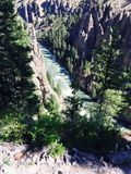River runs through it. Yellowstone river mountains nature Royalty Free Stock Photography