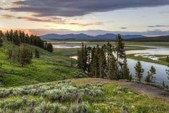 Yellowstone River Sonnenuntergang stockfoto