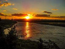 Yellowstone river at sunset Royalty Free Stock Image