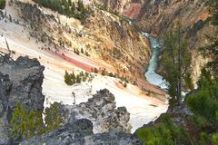 The Yellowstone River and Surrounding Canyon Royalty Free Stock Photos
