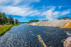Yellowstone river in yellowstone park. Yellowstone river under blue sky and white cloud in Yellowstone Park royalty free stock photography