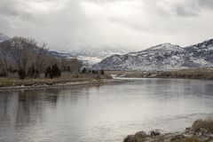 Yellowstone River, Wyoming in winter Royalty Free Stock Image