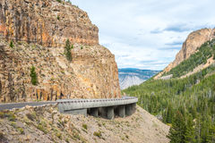 Yellowstone's Grand Loop Road passes through the Golden Gate  pass. Yellowstone's Grand Loop Road passes through the Golden Gate Pass in Yellowstone National Royalty Free Stock Image