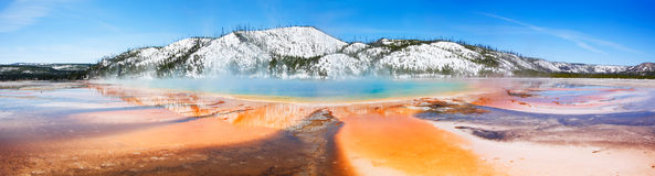 Yellowstone's Grand Prismatic. Streaks of color emanating from Yellowstone's Grand Prismatic Spring - Yellowstone National Park Royalty Free Stock Image