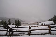 Yellowstone staket Arkivfoto