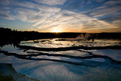 Yellowstone Sunset Reflections. Sunset reflections on Great Fountain geyser in Yellowstone N.P royalty free stock photo