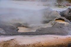 Yellowstone varm vår - närbild - turkosvatten, gula bakteriefläckar naturlig abstraktion royaltyfri foto