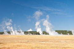 Yellowstone Vista. Plumes of steam soar high above vast meadows as geysers erupt in Yellowstone National Park royalty free stock images