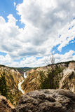 Yellowstone waterfalls. Under blue sky and white cloud stock images
