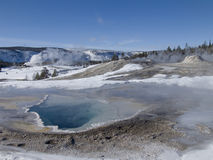 Yellowstone Winter. Hot springs, geyers, and scenic horizons at -10F Stock Photo