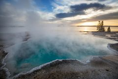 Yellowstone. Wooden boardwalk along geyser fields in Yellowstone National Park, USA royalty free stock photos