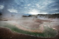 Yellowstone. Wooden boardwalk along geyser fields in Yellowstone National Park, USA royalty free stock photo