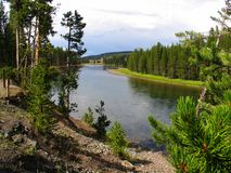 Yellowstonerivier in de recente zomer stock afbeeldingen