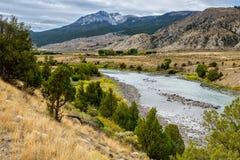 Yellowstonerivier in Montana royalty-vrije stock afbeelding