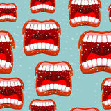Yells lips seamless pattern. call background. aggressive emotion. Texture. Open your mouth and tongue. Flying saliva. Shout. Shrill scream. Swearing and bad Stock Image
