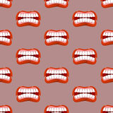 Yells lips seamless pattern. Creek background. aggressive emotio. N texture. Open your mouth and tongue. Flying saliva. Shout. Shrill scream. Swearing and bad Royalty Free Stock Photo
