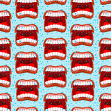 Yells lips seamless pattern. outcry background. aggressive emoti. On texture. Open your mouth and tongue. Flying saliva. Shout. Shrill scream. Swearing and bad Royalty Free Stock Photos