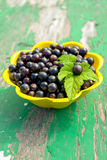 Yelolow bowl with black currant Royalty Free Stock Photo