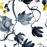 Yeloow flower pattern. Plant with yellow flower buds. Watercolor and ink painting in style gohua, sumi-e, u-sin. Oriental traditional painting. Seamless pattern vector illustration
