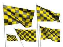Yelow emballant les drapeaux à carreaux de vecteur Images libres de droits