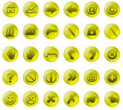 Yelow glass buttons Royalty Free Stock Image