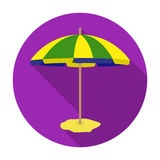 Yelow-green beach umbrella icon in flat style isolated on white background.  Royalty Free Stock Photos