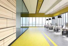 Yelow office interior with black round lamps, wood Stock Images