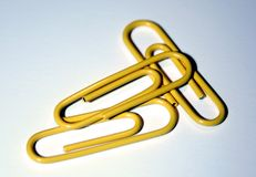 Yelow paper Clips. Yellow paper clips Royalty Free Stock Photo
