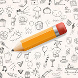 Yelow pencil with group of hand drawn icons, vector doodle objects Stock Photo