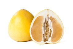 Yelow pomelo fruit on white Backgorund, Stock Images