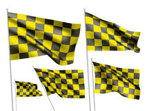 Yelow racing checkered vector flags Royalty Free Stock Images