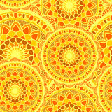 Yelow sans couture du soleil de mandala Photos stock