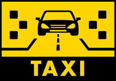 Yelow taxi background with cab on road Stock Photo