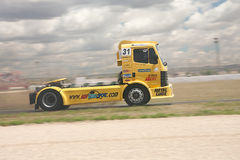 Yelow truck. ALBACETE, SPAIN - JUN 5: truck drived by Enrique Vila for Mercedes Team truck, in FIA European Truck Racing Championship, on june 5, 2011, in Stock Photos