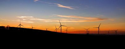 Yelvertoft Wind Farm Silhouetted at Sunset Stock Photography